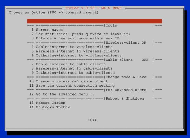 Main Menu TorBox v.0.23