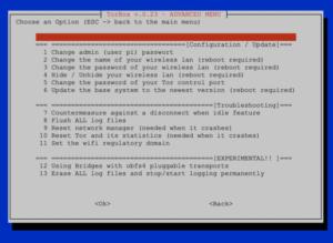 The Advanced Menu in TorBox v.0.23.