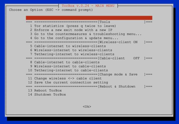 Main Menu TorBox v.0.2.4