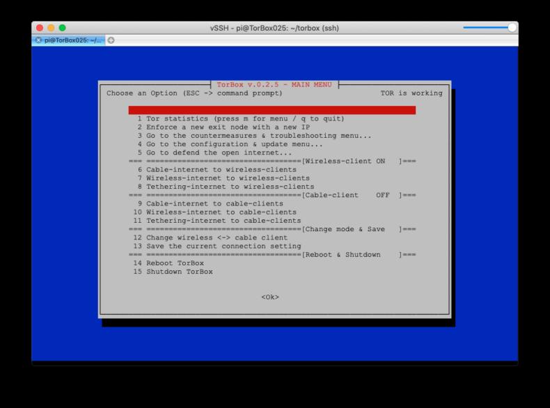 Main Menu TorBox v.0.2.5