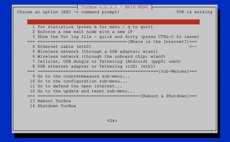 Main Menu TorBox v.0.3.1