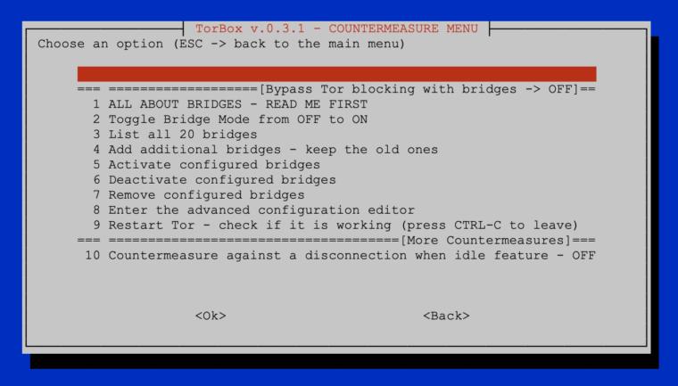 The countermeasure sub-menu of TorBox v.0.3.1