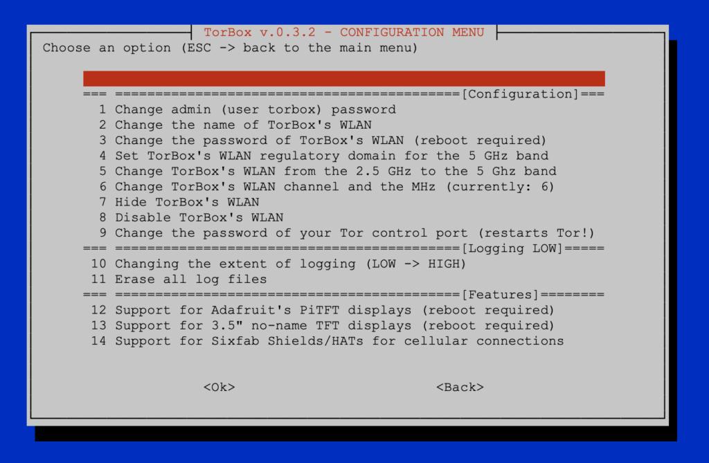 The Configuration sub-menu of TorBox v.0.3.0